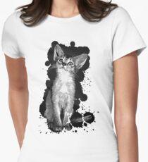 gxp abyssinian cat kitten vector art black Women's Fitted T-Shirt