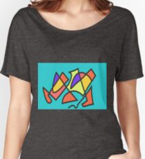 Blue blue multicolor Women's Relaxed Fit T-Shirt
