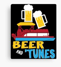 Beer & Tunes Pontoon Boat Captain Funny Drinking  Canvas Print