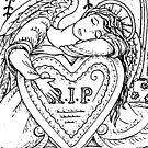 HEARTS DEPARTED, GUARDIAN ANGEL IN CEMETERY by Susan Brack