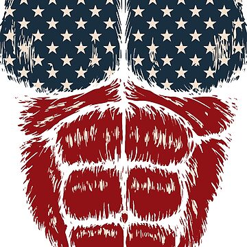 US American flag gorilla muscles fur by luibeton