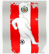 Peru Flag Soccer Player Poster