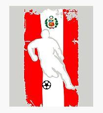 Peru Flag Soccer Player Photographic Print