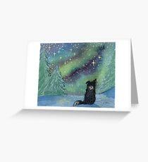 All is calm, Border Collie dog, star light scene Greeting Card