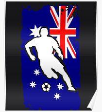 Australia Flag Soccer Player Poster