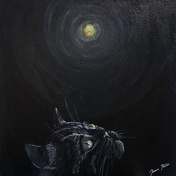 Black cat art moon by joanna-philine