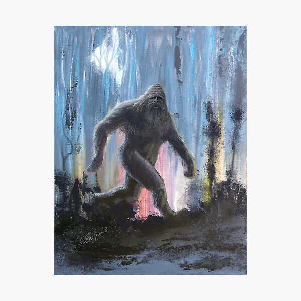 Bigfoot At Twilight - Sasquatch Art Photographic Print