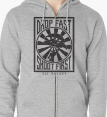 Drop Fast, Shoot First Zipped Hoodie