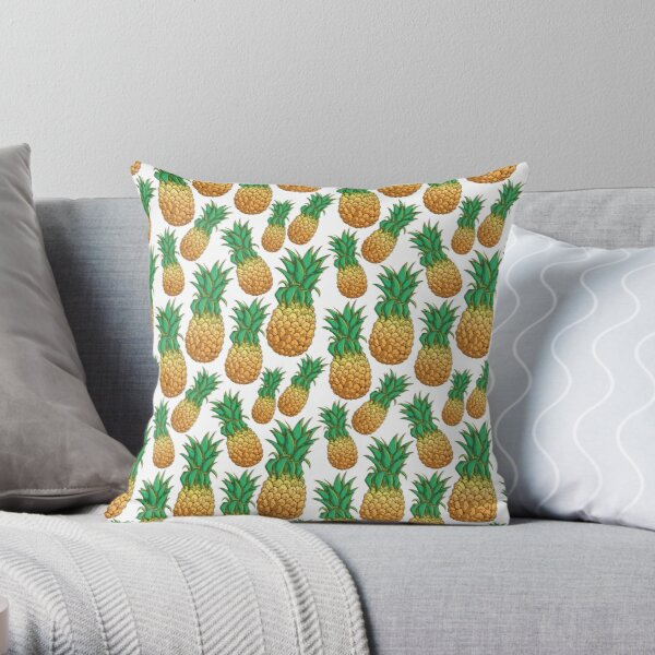 Tropical Pineapple Pattern With Natural White Background Throw Pillow