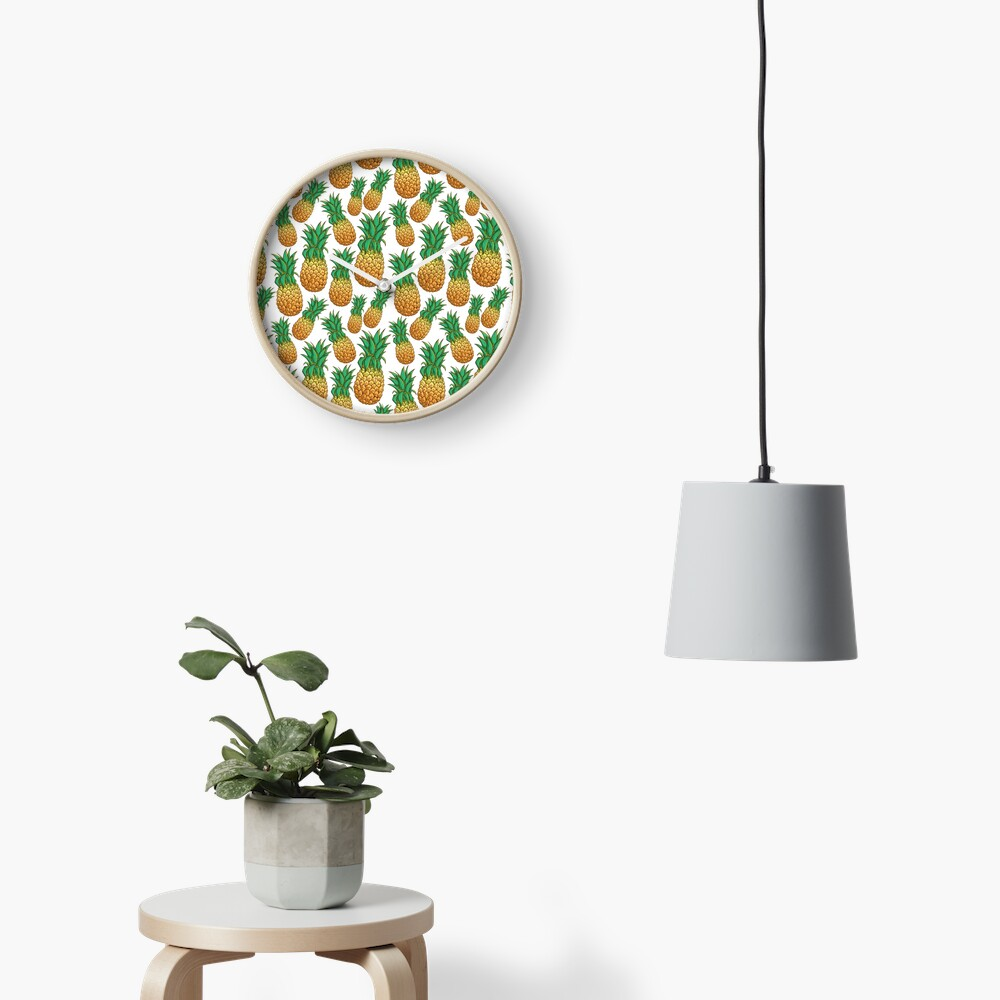 Tropical Pineapple Pattern With Natural White Background Clock