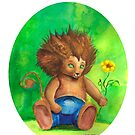 Baby Lion discovers the world by serely