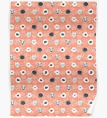 Doodle Dot Flower Peach and White Poster