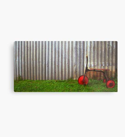 Red trike reminiscing of simpler times... Metal Print