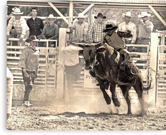 A Rodeo Cowboy Rides his Bull by Buckwhite