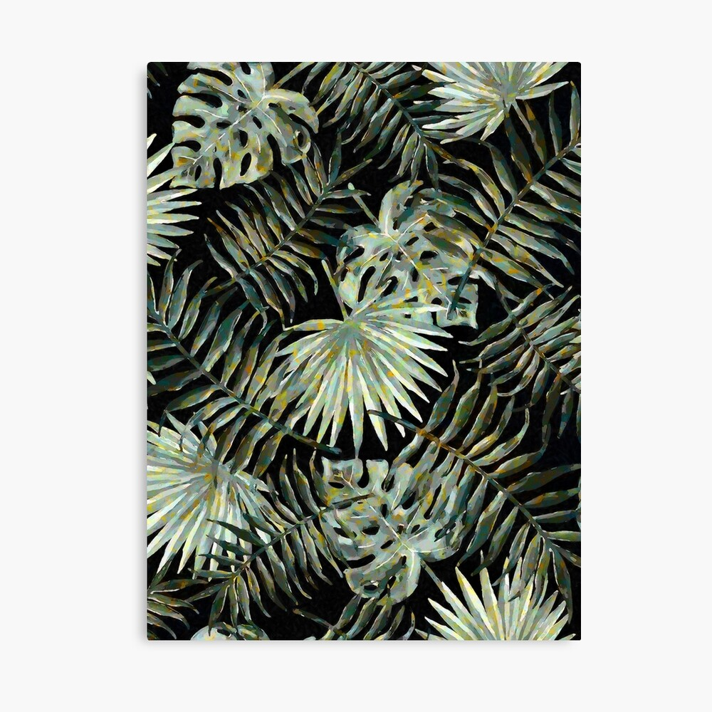 Jungle Dark Tropical Leaves #decor #pattern #redbubble #style Canvas Print