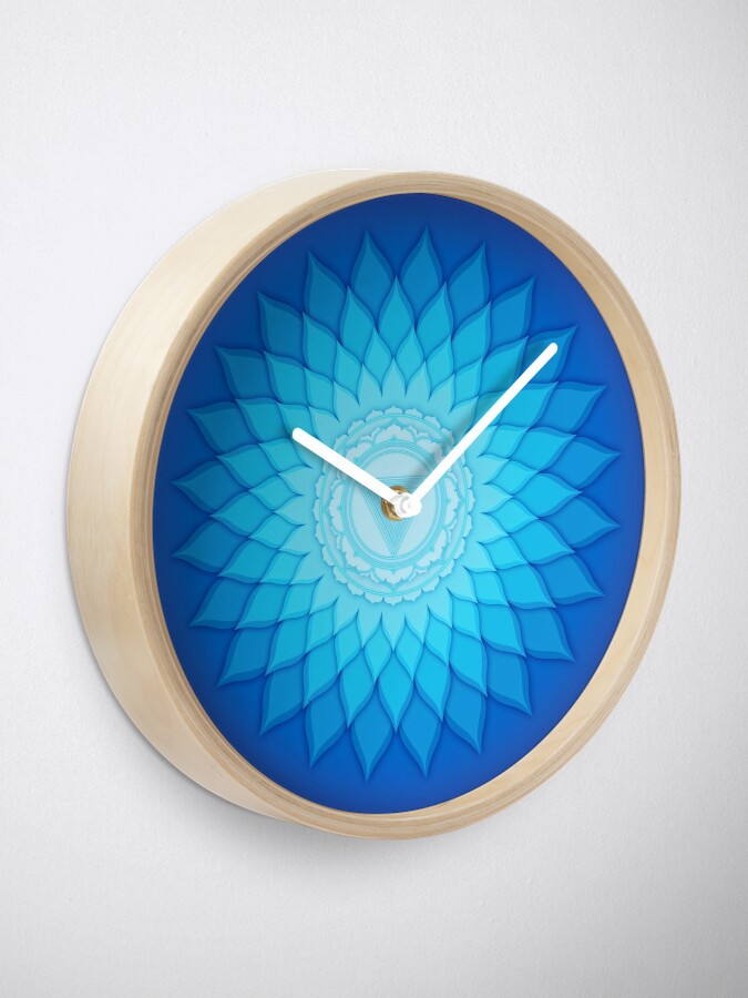 Saturn Yantra Clock - Blue Wall Clock - Lotus Flower Decor