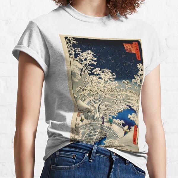 Ukiyo-e, Ando Hiroshige Yuhi Hill and the Drum Bridge at Meguro (1856- 1858) Classic T-Shirt