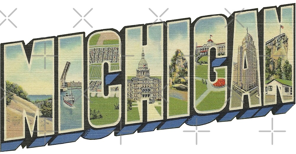 Michigan in Vintage Big Letter by Colleen Cornelius