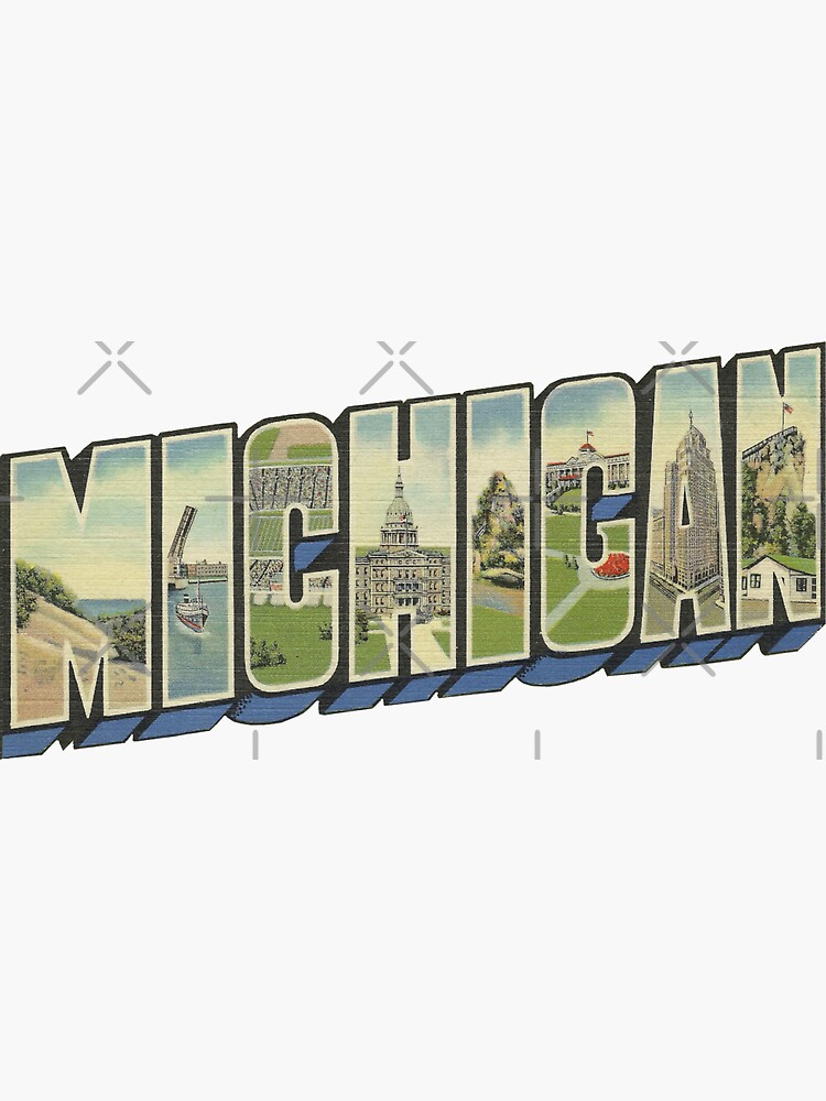 Michigan in Vintage Big Letter by ButterflysAttic