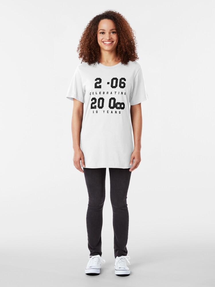 Alternate view of 10 Year Anniversary CAD fan shirt - Black text Slim Fit T-Shirt
