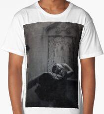 Slytherin Inspired Gothic Girl Dark Angel In Cloak Black and White  Long T-Shirt