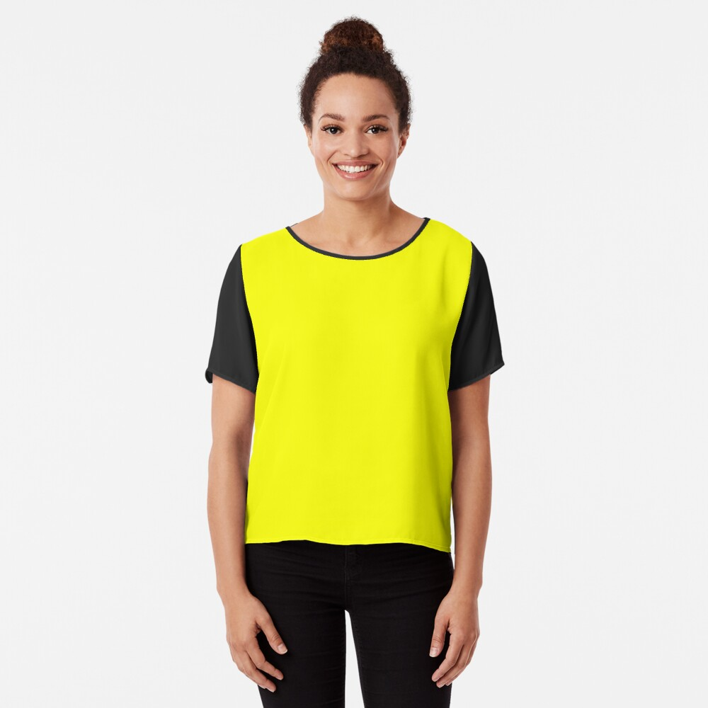Neon fluorescent Yellow | Yellow|neon Yellow/Fluro Yellow Chiffon Top