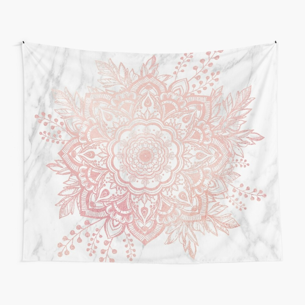 Queen Starring of Mandala-White Marble Wall Tapestry