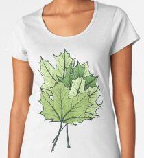 Green Maple Leaves On Vibrant Orange Women's Premium T-Shirt