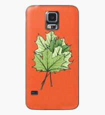 Green Maple Leaves On Vibrant Orange Case/Skin for Samsung Galaxy