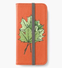 Green Maple Leaves On Vibrant Orange iPhone Wallet/Case/Skin