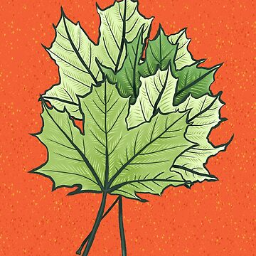Green Maple Leaves On Vibrant Orange by azzza