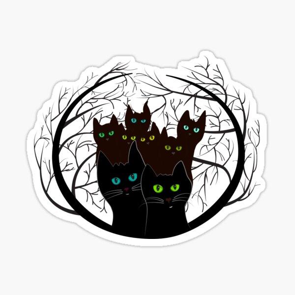 Band of black cats. Halloween black cat. Cat lover gift. hallowen gift, October 31 decor Sticker