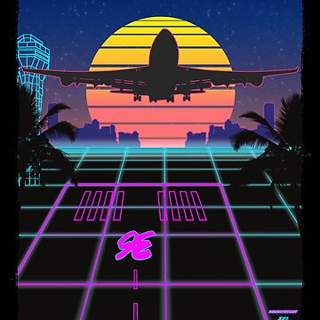 Landing Airliner 1980's Retrowave / Synthwave Art Design by RealPilotDesign