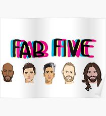 Fab Five Logo Design Poster