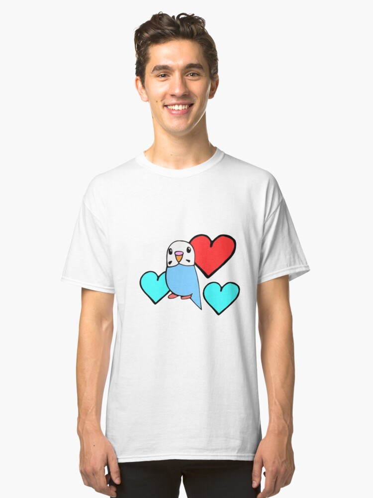 Budgie with Hearts Classic T-Shirt Front