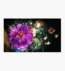 Purple Peony and Pink Roses in a Vase Photographic Print
