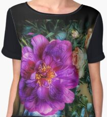 Purple Peony and Pink Roses in a Vase Chiffon Top