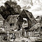 A farm-yard with sheds, a few cows, a small pond with ducks, and a water pump 19th century in the United Kingdom by Dennis Melling