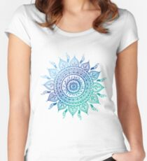 Blue Gradient Mandala  Women's Fitted Scoop T-Shirt