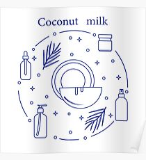 Coconut milk for cosmetics and care products. Poster