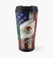 Proud Mexican American - American Flag with the Mexican Flag inside show Mexican roots Travel Mug