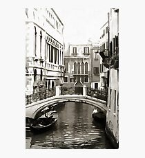 Bridge In Venice Black and White Photographic Print