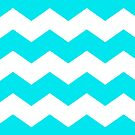 Bright Turquoise and White Chevron Print by itsjensworld