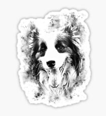 gxp border collie shepherd dog splatter watercolor white Sticker