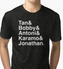 Queer Eye Tan Bobby Antoni Karamo & Jonathan (White on Black) Tri-blend T-Shirt