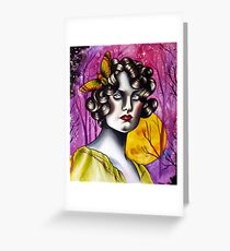 Neotraditional Tattoo Flapper Girl  Greeting Card