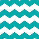 Bold Teal and White Chevron Print by itsjensworld