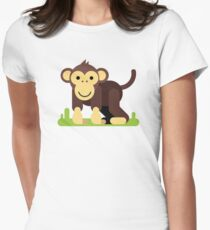 monkey animal cartoon character Women's Fitted T-Shirt