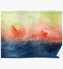 Brush Fire - Abstract Watercolor Landscape Poster