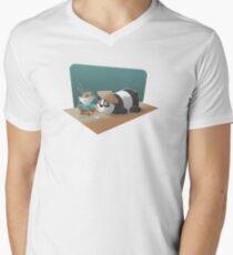 panda character chinese noodle Men's V-Neck T-Shirt